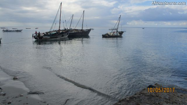 The Dhow harbour of Bagamoyo, fishermen boats at high tide