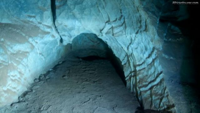 Ghaub Cave near Tsumeb, underwater view one of its submerged passages <sup>1</sup>