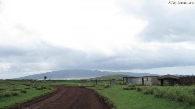 Irkeepus village of Ngorongoro conservation area, as seen from the road to Olmoti crater from Ngorongoro crater