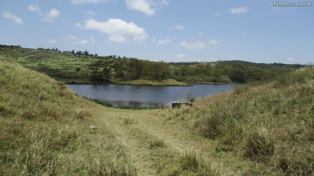 lake Lekandiro of Arusha national park, as seen from a  distance on the road approaching it