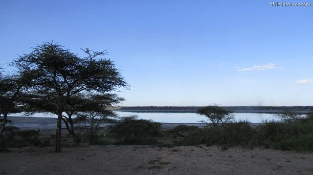 lake Masek of Ngorongoro conservation area, a view from the shore at dusk