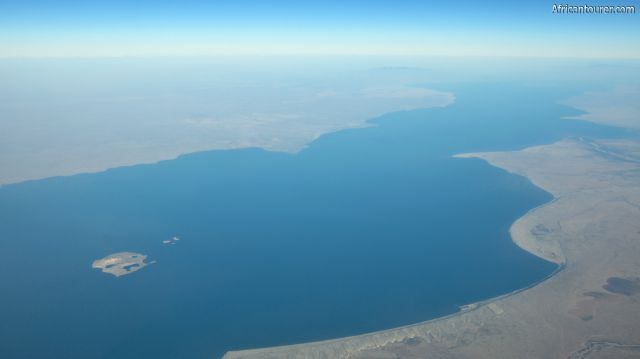 Lake Turkana in northern Kenya, an aerial view from the north western shore with the central island on the bottom left [1]