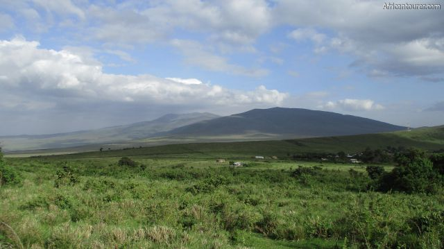 mount Losirua of Ngorongoro conservation area, (right - after ridge) with Lolmalasin on the far left - as seen from the hiking path from Olmoti crater's rim