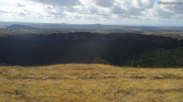 Maasai crater Arusha, view from the west rim along the Mateves - Moita ward border