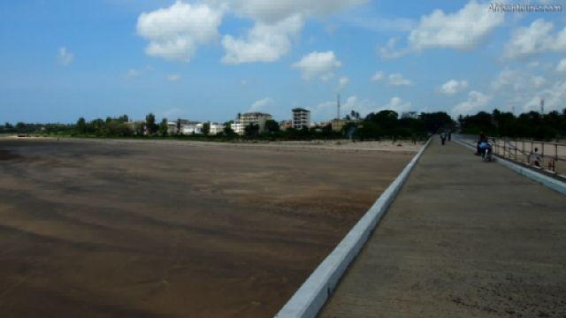 Malindi pier, looking back at the coastline while standing over it<sup>1</sup>