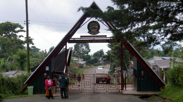Marangu gate. of Kilimanjaro national park, view from the inside of the main entrance gate to the park offices compound. [1]