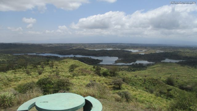 Momella lakes viewpoint of Arusha national park, looking at small Momella and big Momella behind it