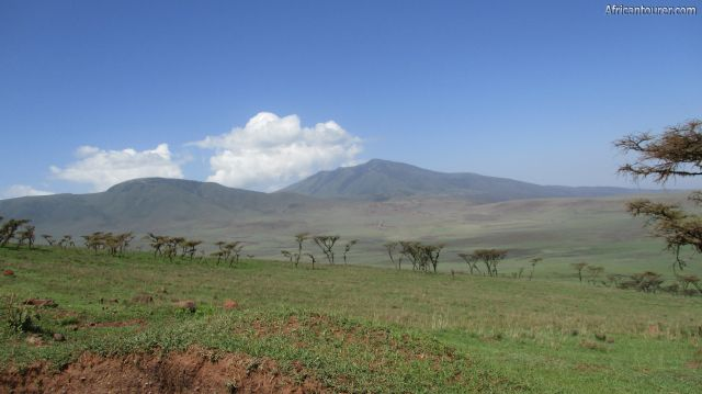 mount Satiman of Ngorongoro conservation area, on the left with Makarot behind it and the Malanja depression in front