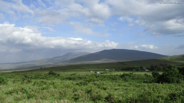 Nainokanoka village of Ngorongoro conservation area, as seen from the slopes of Olmoti crater