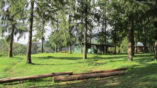 Napuru picnic site, from left the barbecue hut, candy shop and outdoor dining hut
