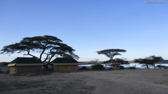 Ndutu special campsite (3), with Chaka migration camp tents and the lake behind them