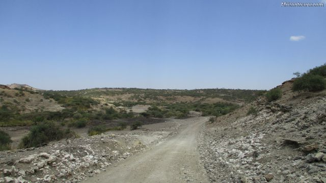 Olduvai gorge Ngorongoro conservation area, as view from a road inside it crossing from the museum to the north