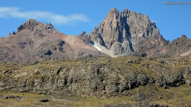 Point Lenana  mount Kenya, on the left with Nelion  and Batian on the right (same peak)