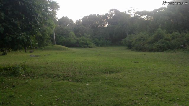 Public campsite number 1 of Arusha national park, view from the southern end with kitchen behind (off view)