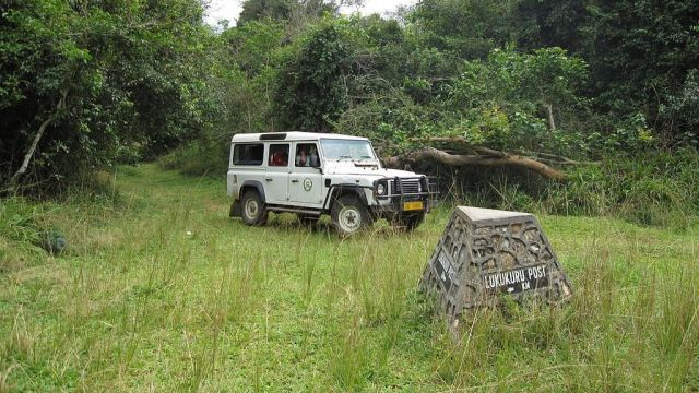 Rubondo Island national park. TANAPA 4x4 vehicle at Lukukuru post [3]