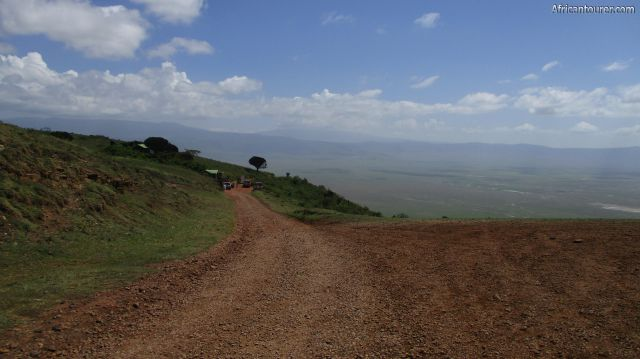 Seneto mini gate of Ngorongoro crater, in the distance