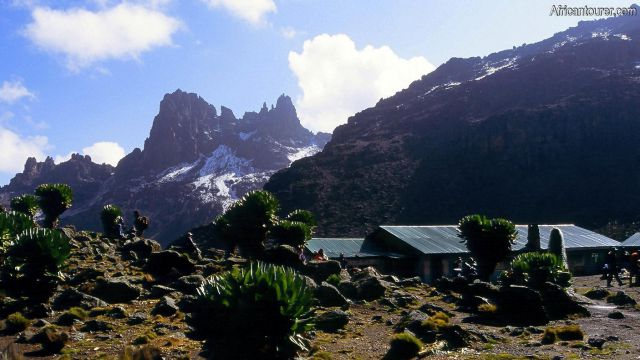 Shipton's campsite mount Kenya, a view from the north with the main peaks visible behind it [1]