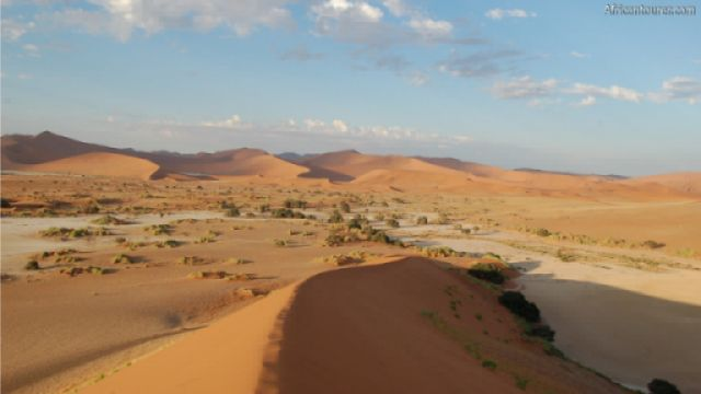 SossusVlei of Namib Naukluft national park, on the right as seen from a dune north of it<sup>1</sup>