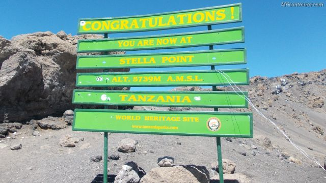 Stella point of Kilimanjaro national park, the sign post. [1]