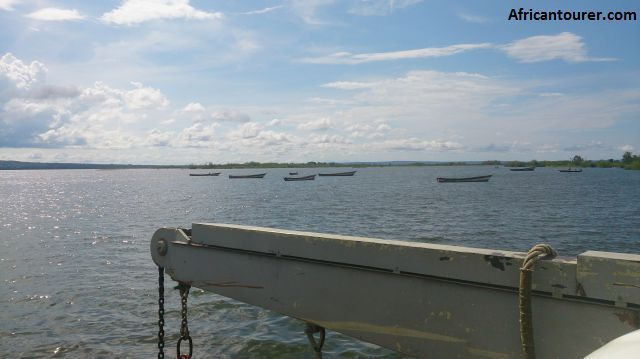 Ukerewe island, in the distance as seen from the Kisoria - Nansio ferry